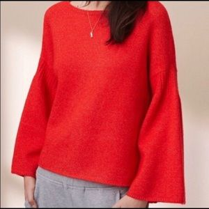 Lou & Grey Bell Sleeve Cozy Bright Red Sweater